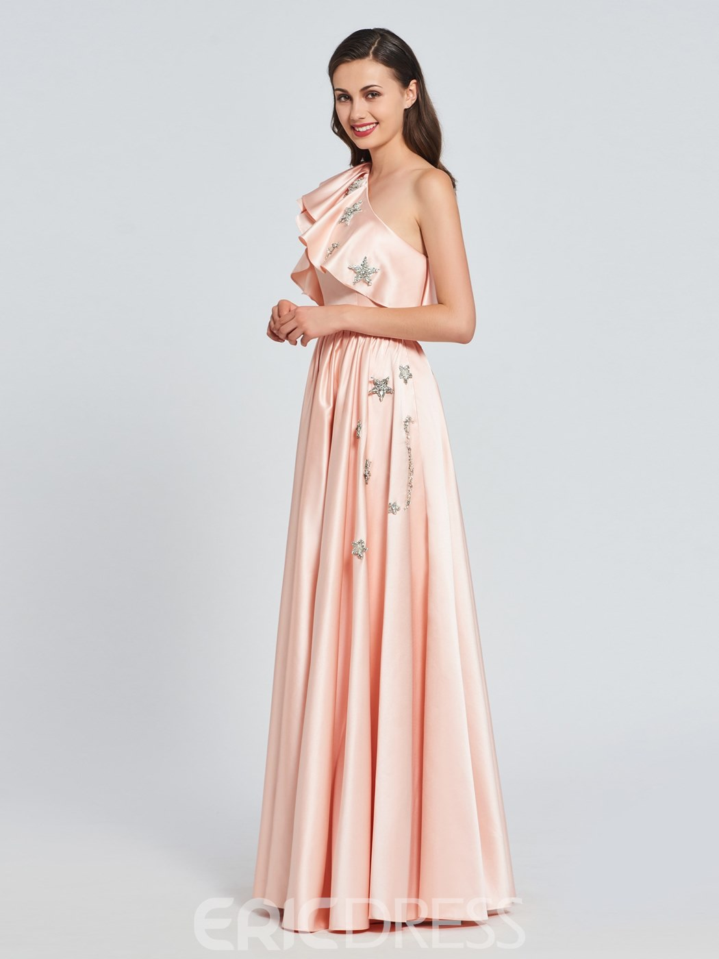 Ericdress A-Line One-Shoulder Appliques Ruffles Prom Dress