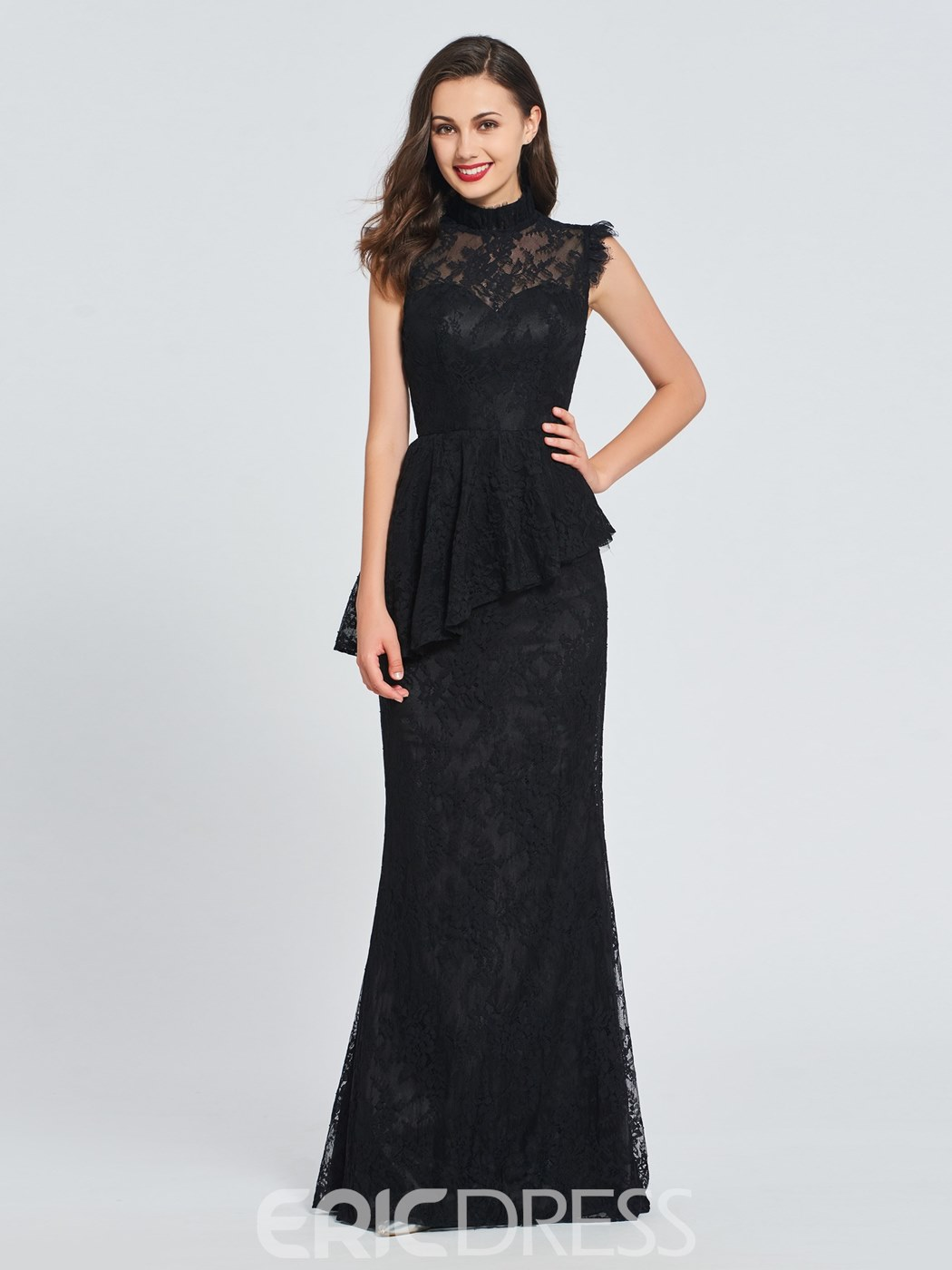 Ericdress High Neck Lace Vintage Black Prom Dress
