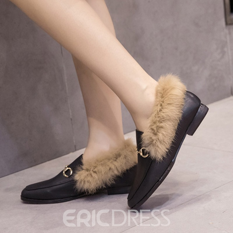 Ericdress Square Toe Block Heel Women's Flats