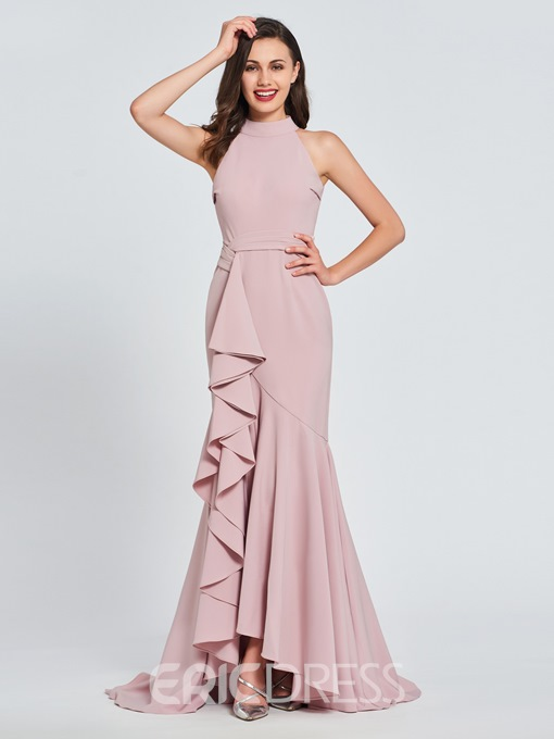 Ericdress High Neck Ruffles Mermaid Prom Dress