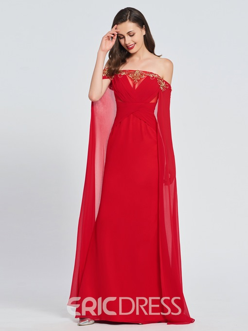 Ericdress Off-The-Shoulder Beading Red Prom Dress