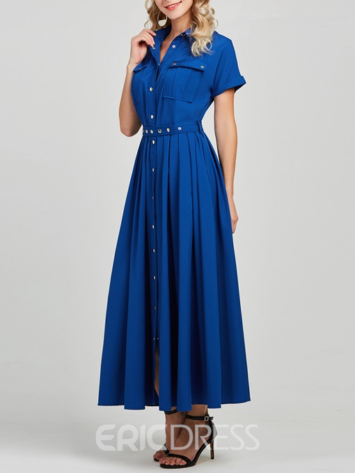 Ericdress A-Line Pleated Single-Breasted Women's Dress