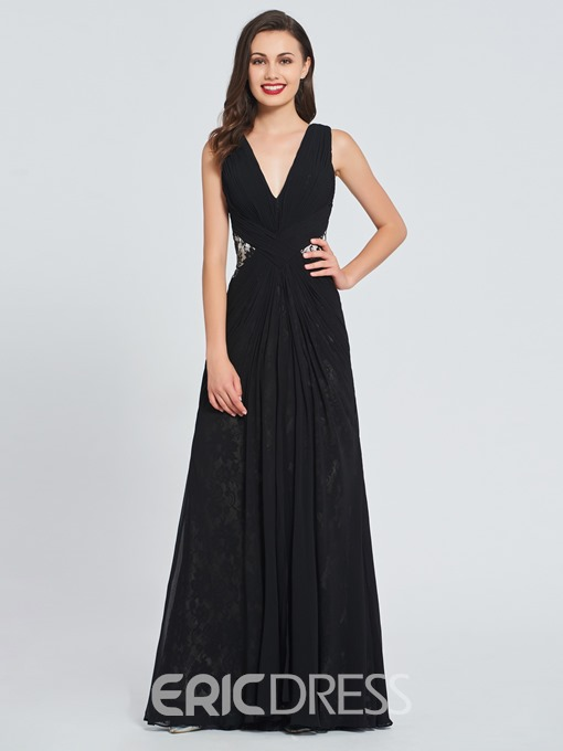 Ericdress V-Neck Lace Backless Black Evening Dress