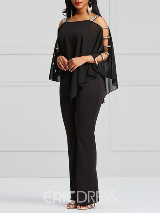 Ericdress Asymmetric Cold Shoulder Batwing Sleeve Women's Jumpsuit