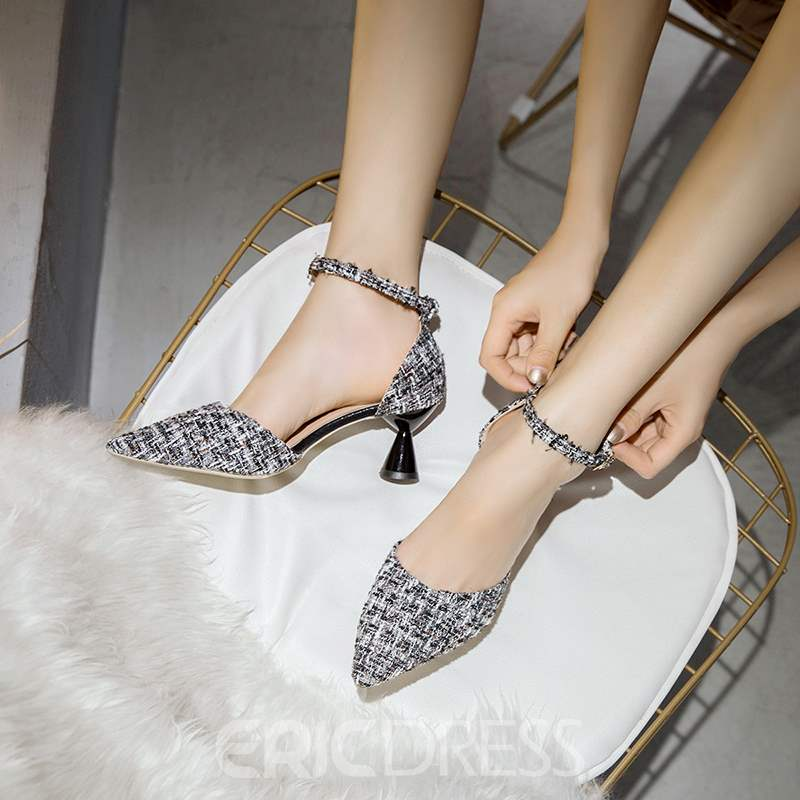 Ericdress Line-Style Buckle Shaped Heel Women's Pumps