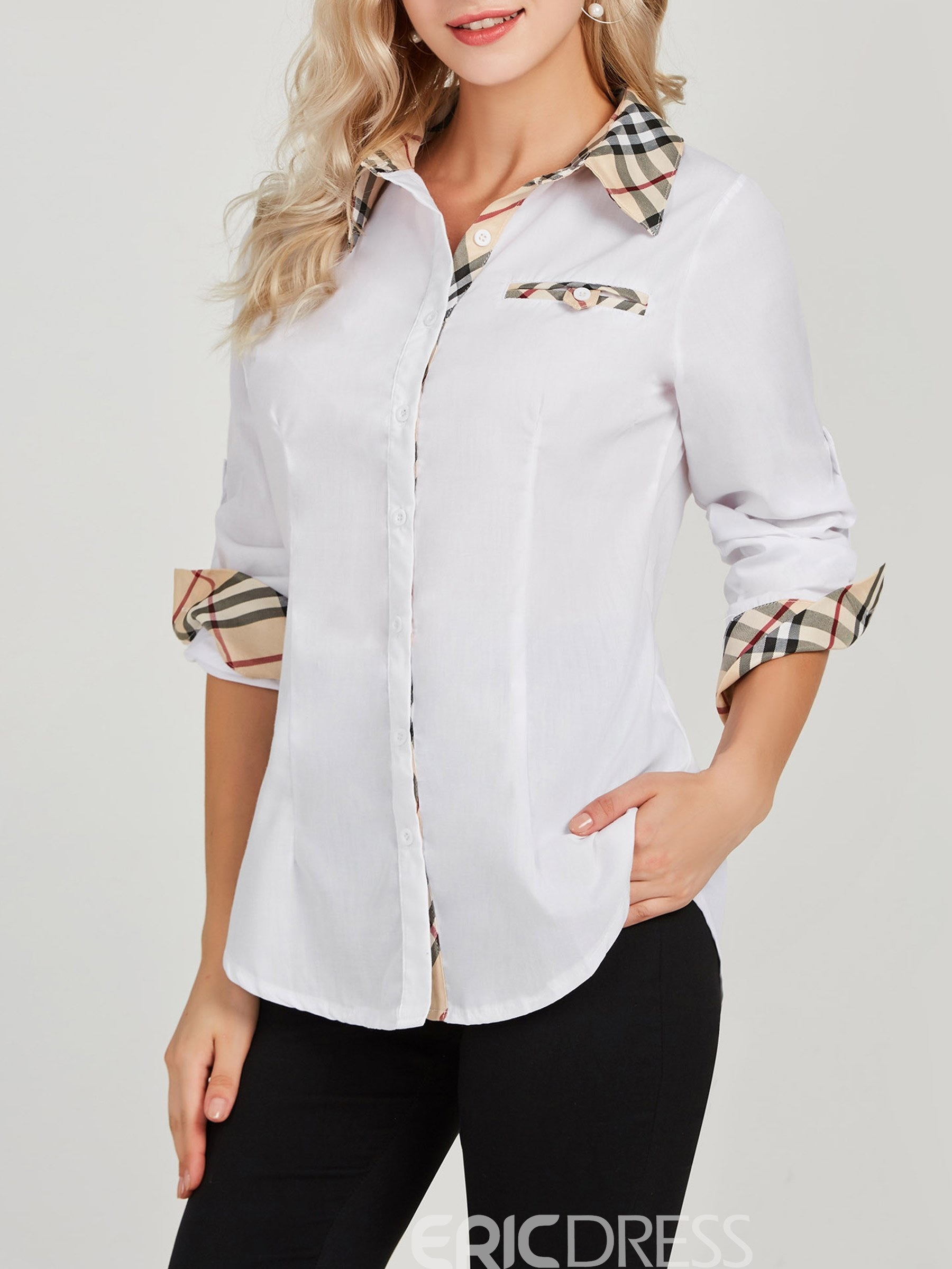 Ericdress Single-Breasted Lapel Mid-Length Long Sleeve Blouse