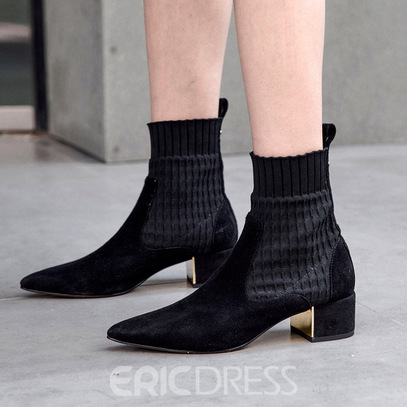 Ericdress Pointed Toe Chunky Heel Slip-On Ankle Boots