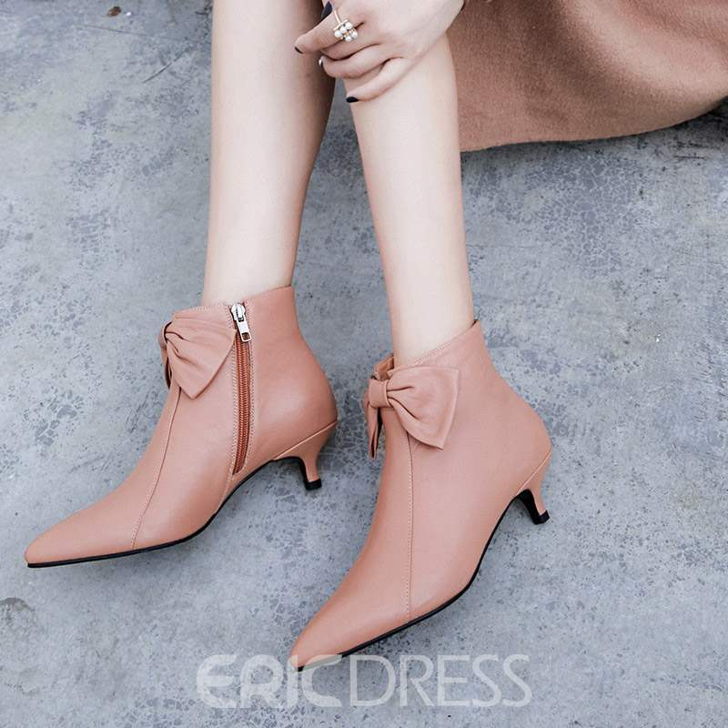 Ericdress Bow Pointed Toe Kitten Heel Ankle Boots