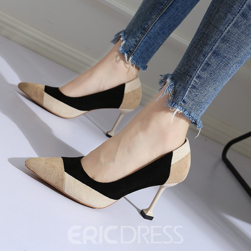 Ericdress Patchwork Stiletto Heel Slip-On Pumps