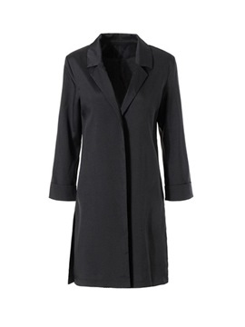 Ericdress Notched Lapel Plain Trench Coat