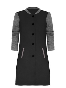 Ericdress Single-Breasted Casual Color Block Coat