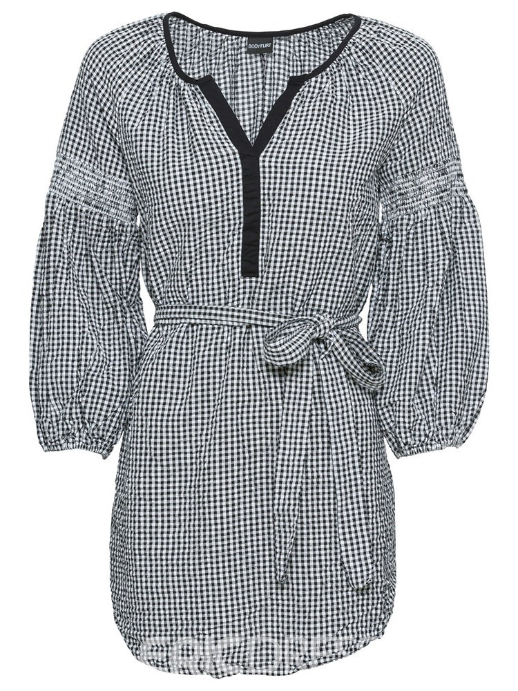Ericdress Loose V-Neck Plaid Mid-Length Long Sleeve Blouse