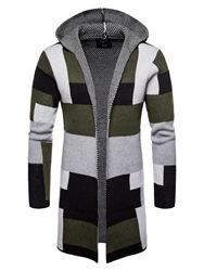 Ericdress Patchwork Mid-Length Hooded Mens Winter Cardigan Sweaters фото