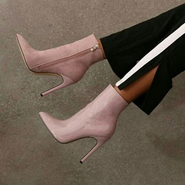 Ericdress PU Side Zipper Pointed Toe Stiletto Heel Ankle Boots