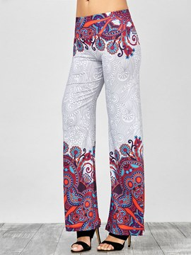 Ericdress Floral Slim Straight Women's Pants