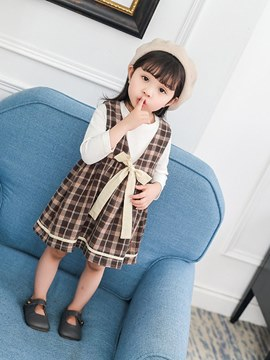 Erikdress Plaid Kleid plain T-Shirts Bowknot Baby Outfits