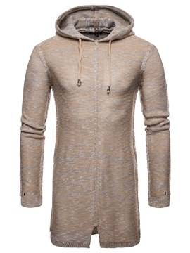 Ericdress Plain Lace Up Hooded Mens Casual Sweaters
