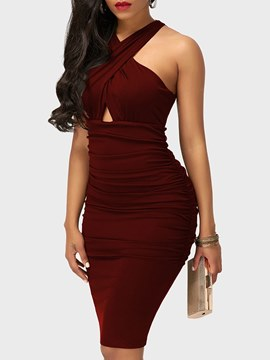 Ericdress Pleated Bodycon Sleeveless Women's Dress