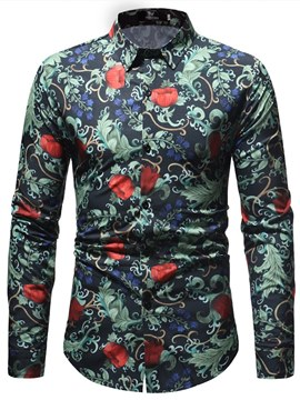 Ericdress Floral Print Single Breasted Slim Mens Casual Shirts