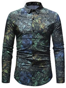 Ericdress Slim Floral Print Mens Casual Shirts