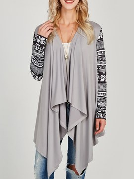 Ericdress Asymmetric Patchwork Print Wrapped Long Sleeve Cardigan