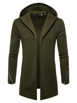 Ericdress Plain Hooded Zipper Mens Loose Casual Cadigan