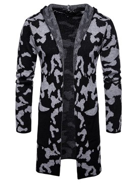 Ericdress Camouflage Hooded Pocket Mens Casual Cardigan Sweaters