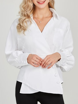 Ericdress Lapel Patchwork Plain Single-Breasted Long Sleeve Blouse