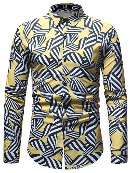 Ericdress Geometric Slim Printed Mens Casual Shirts
