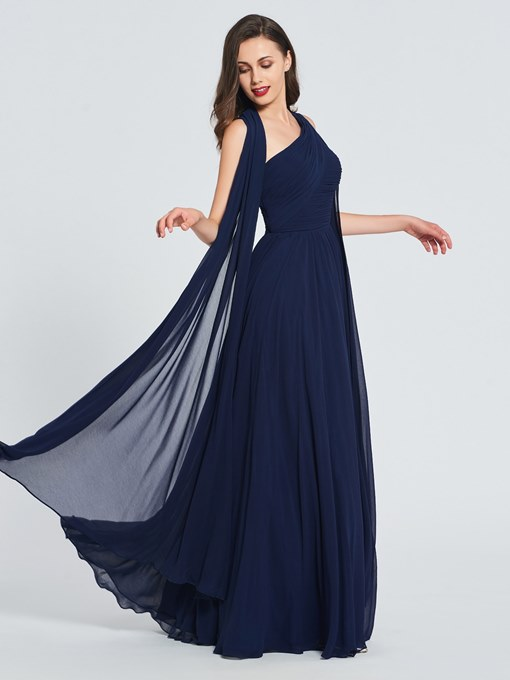Ericdress A Line One Shoulder Pleats Prom Dress