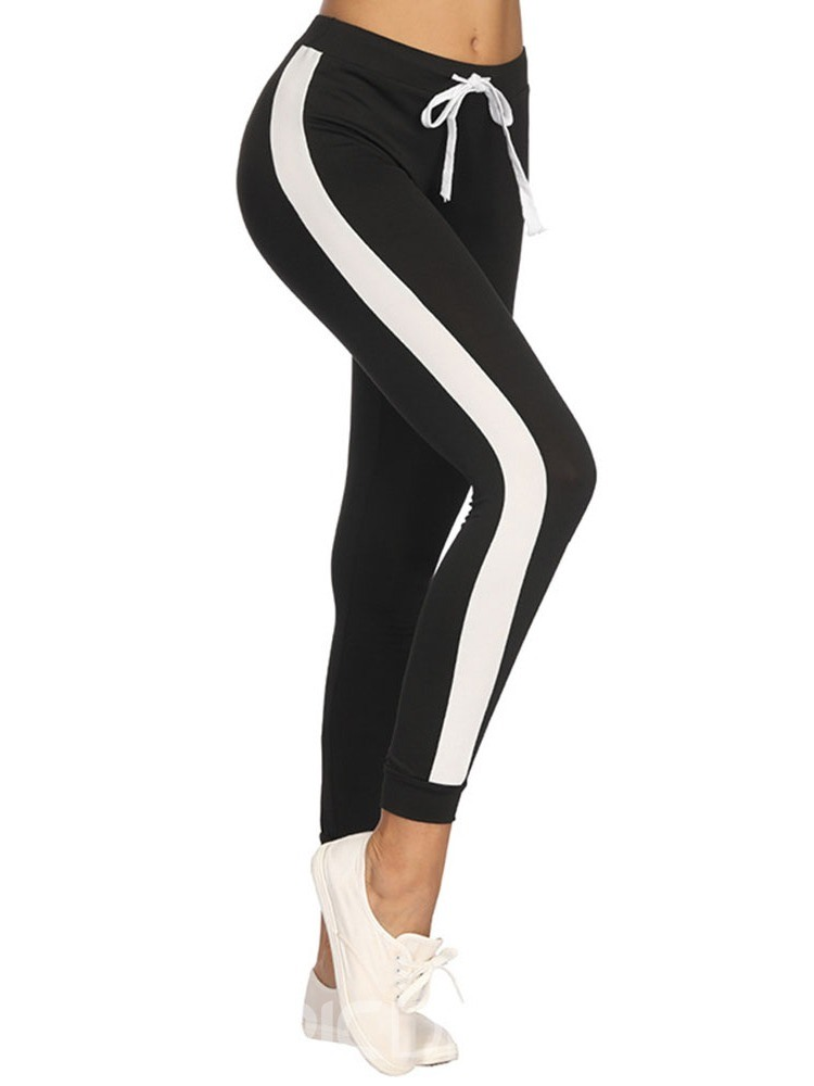 Ericdress Lace-Up Sports Color Block Lace-Up Side Stripe Pants
