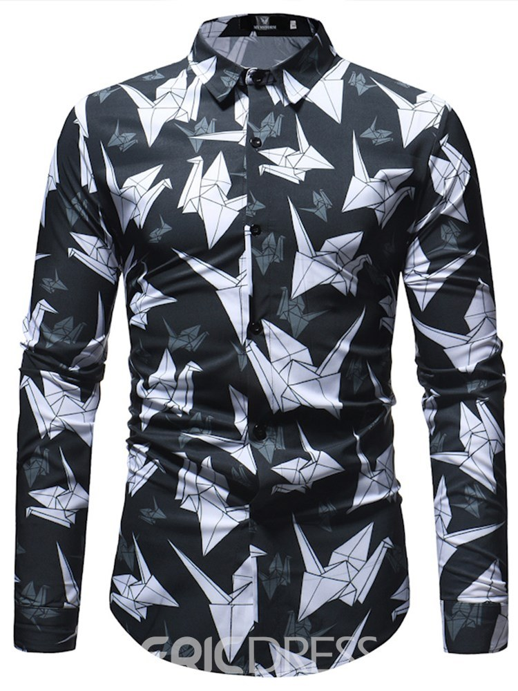 Ericdress Paper Crane Printed Slim Button Up Mens Casual Shirts