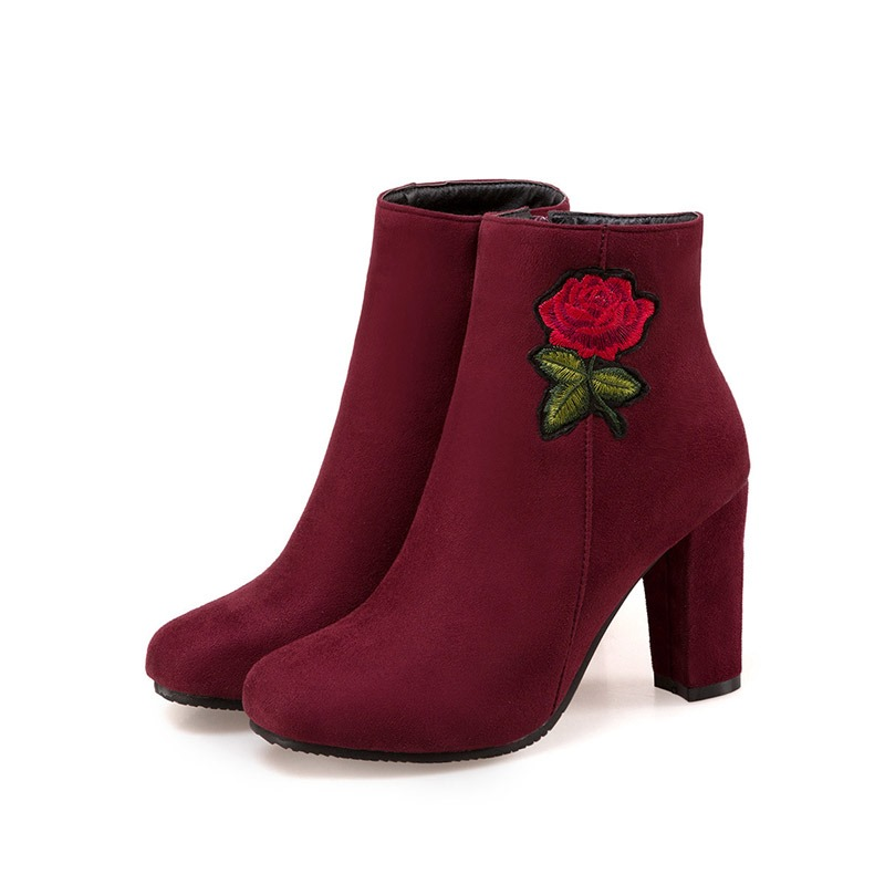 Ericdress Square Toe Chunky Heel Women's Embroidered Boots