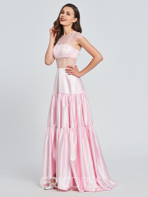 Ericdress A Line Cap Sleeve Beaded Asymmetry Prom Dress