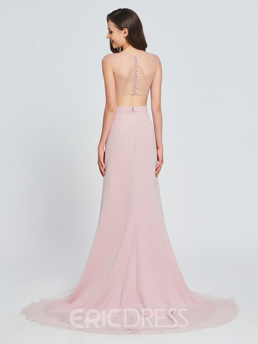 Ericdress A Line Cap Sleeve Two Pieces Asymmetry Prom Dress