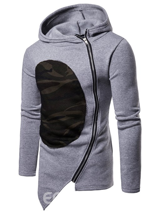 Ericdress Patchwork Asymmetric Zipper Hooded Mens Unique Hoodies