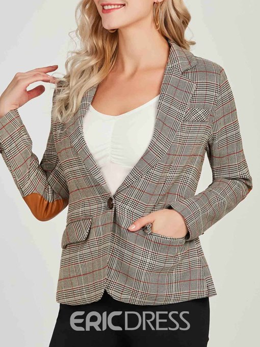 Ericdress Plaid One Button Regular Long Sleeves Blazer