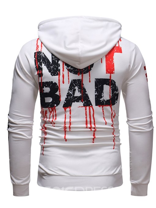 Ericdress Letter Printed Slim Hooded Lace Up Mens Casual Hoodies