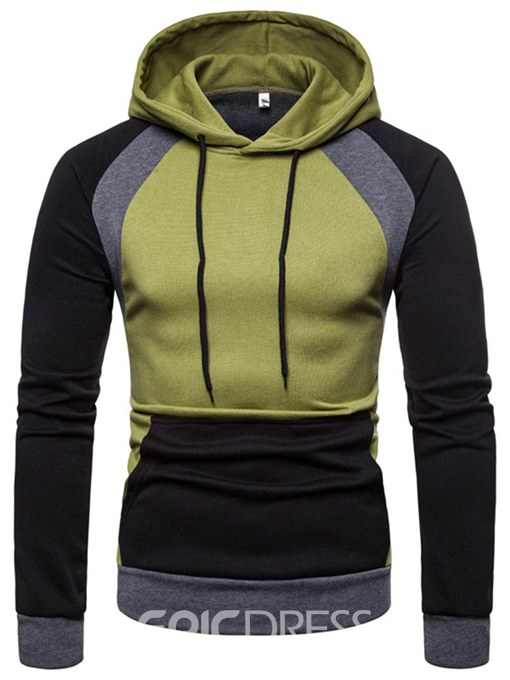 Ericdress Patchwork Color Block Hooded Lace Up Mens Casual Hoodies