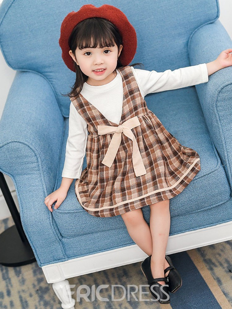 Ericdress Plaid Dress Plain T Shirts Bowknot Baby Girl's Outfits