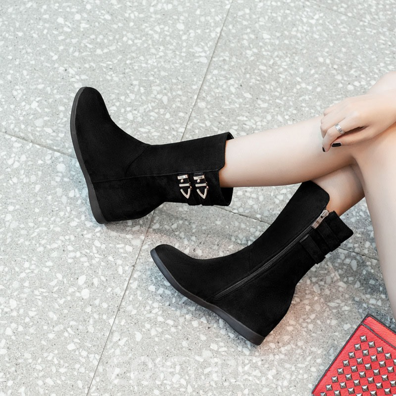 Ericdress Plain Hidden Elevator Heel Women's Ankle Boots