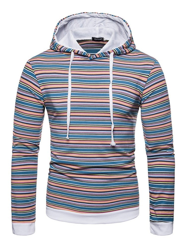Ericdress Striped Hooded Lace Up Pullover Mens Casual Hoodies