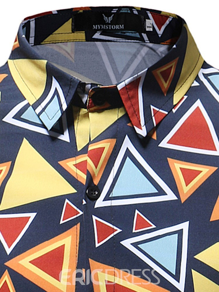 Ericdress Geometric Pattern Slim Printed Mens Casual Shirts