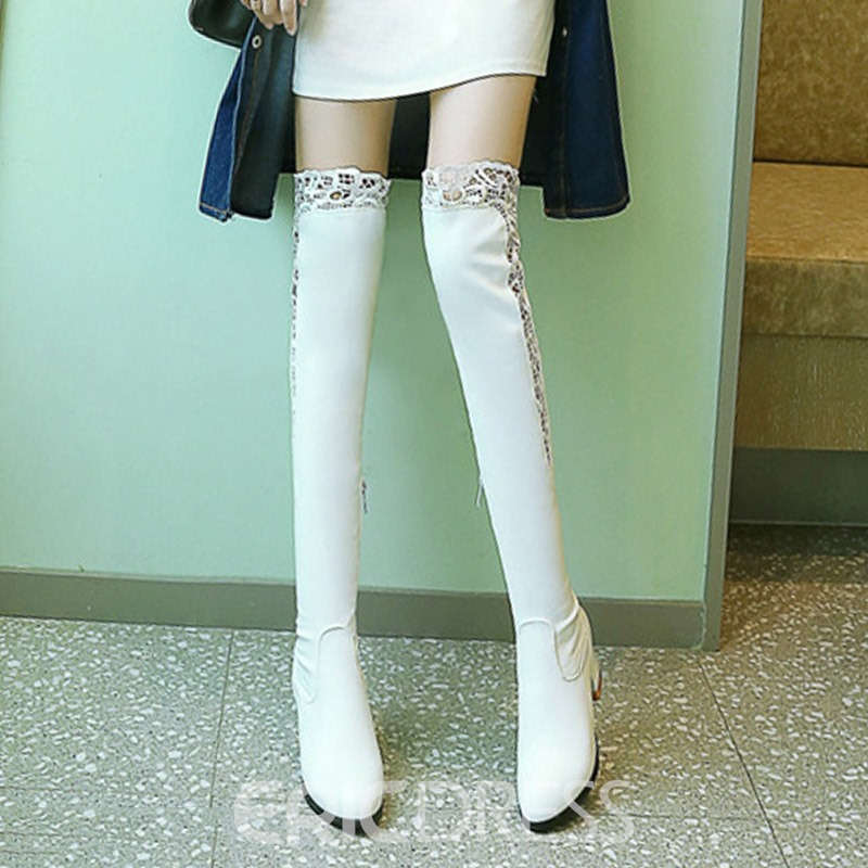 Ericdress PU Side Zipper Chunky Heel Knee High Boots