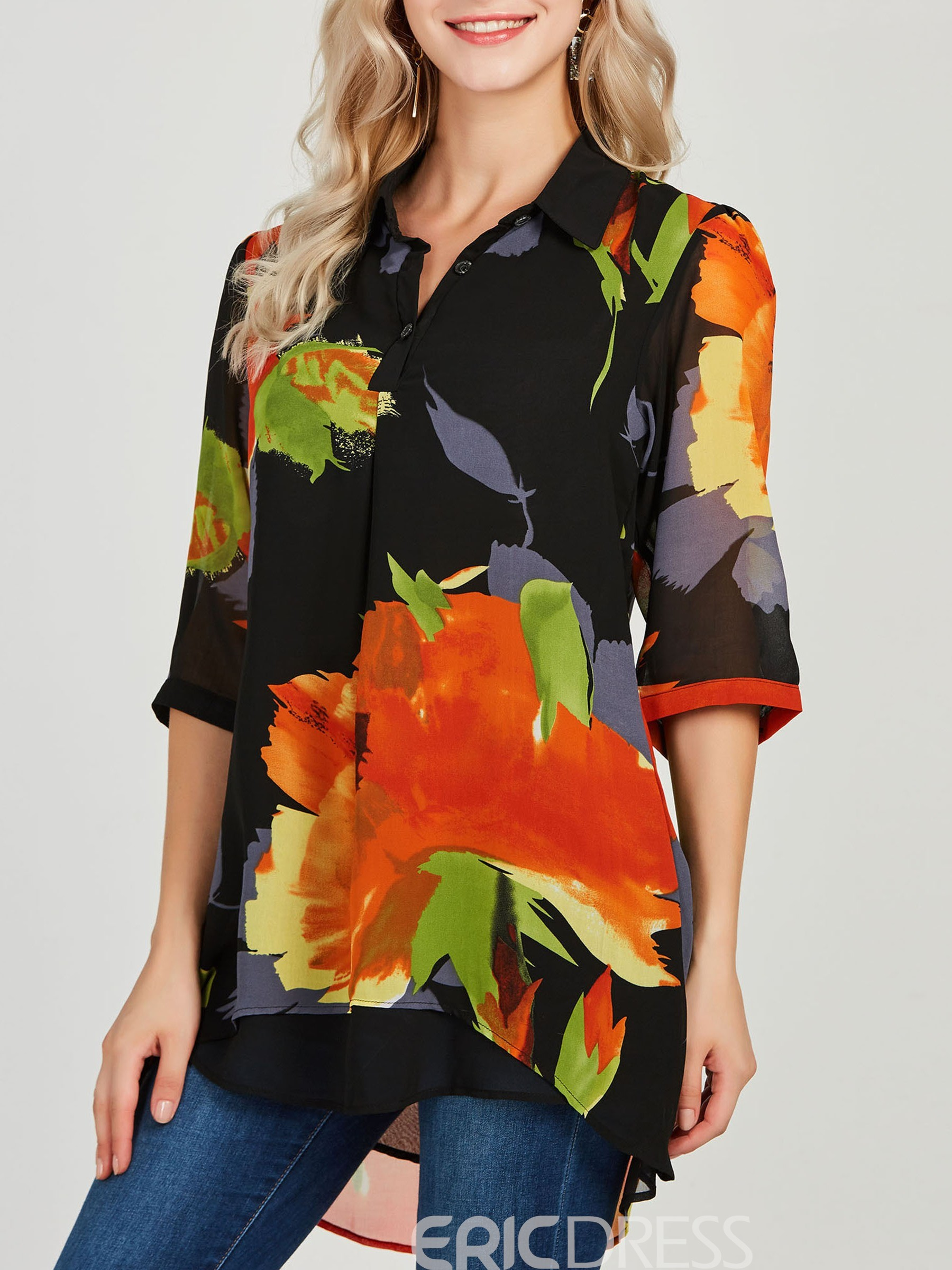 Ericdress Floral Casual Print Lapel Long Sleeve Blouse