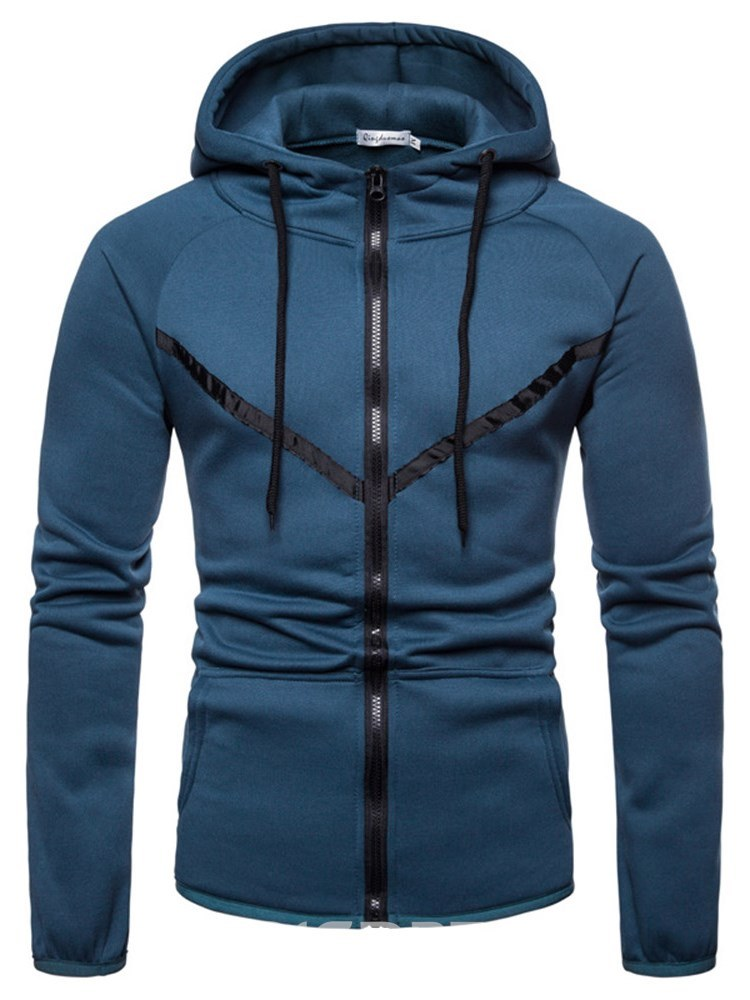 Ericdress Color Block Hooded Zipper Mens Casual Cardigan Hoodies
