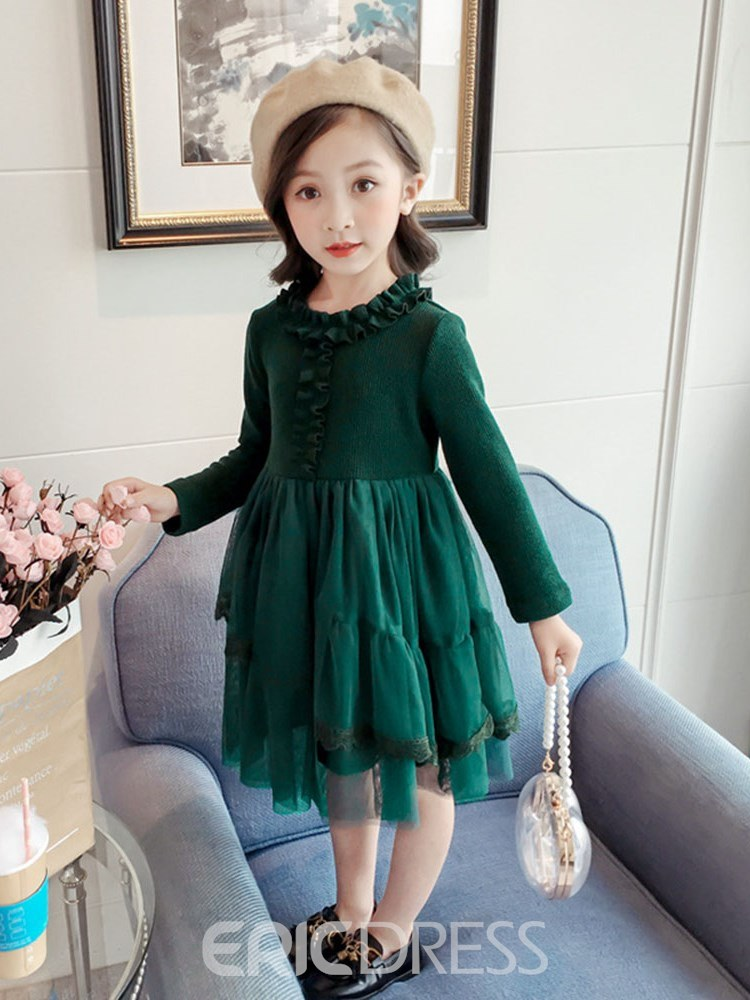 Ericdress Green Pleated Mesh Asymmetrical Pullover Girl's Dress