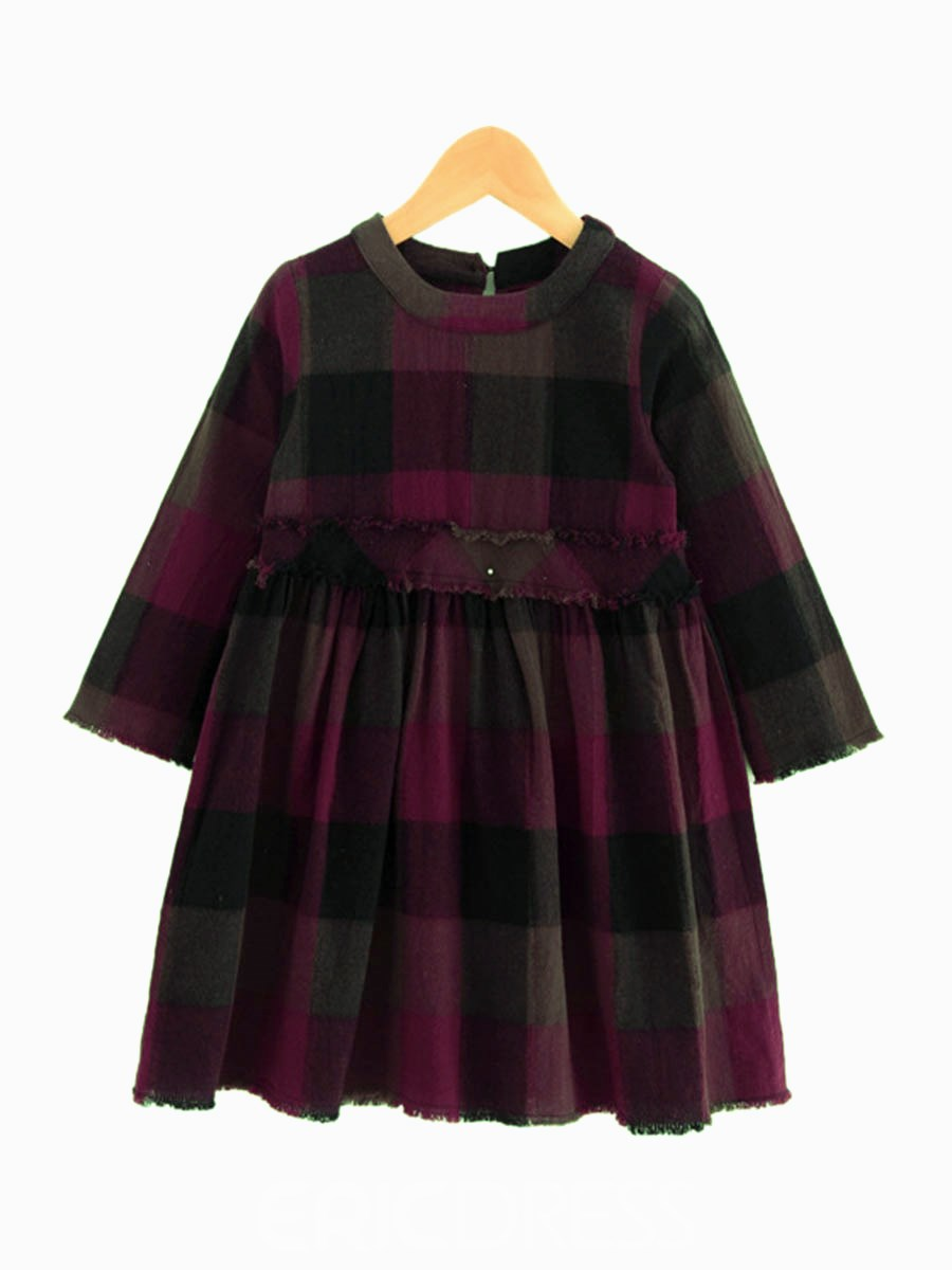 Ericdress Plaid A-Line Nine Points Sleeve Girl's Casual Dress