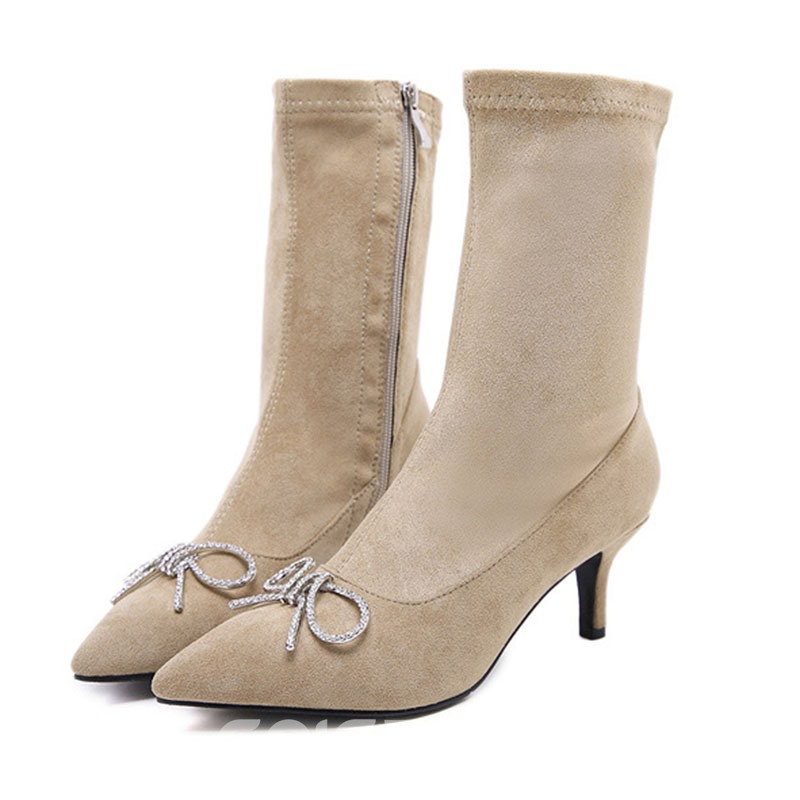 Ericdress Bow Plain Pointed Toe Kitten Heel Ankle Boots