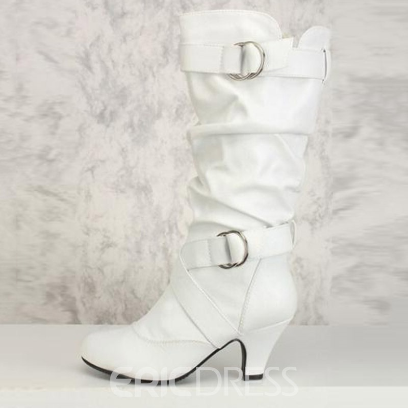 Ericdress Side Zipper Chunky Heel Calf High Slouchy Boots